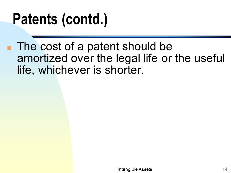 Intangible Assets13 Patents (contd.) n Cost of patent: If purchased from an inventor, the cost will include the purchase price plus any legal fees (to successfully protect the patent).