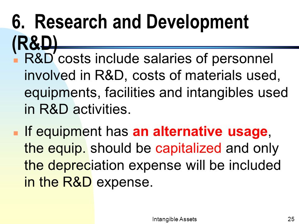 Intangible Assets24 6. Research and Development (R&D) n Prior to SFAS 2 (effective in 1974), the practice was to either expense or capitalize R&D rela