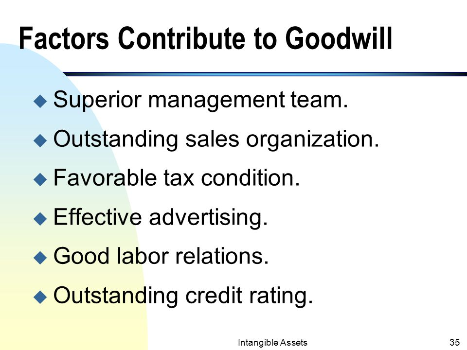 Intangible Assets34 8. Goodwill n Cannot be separated from the business.