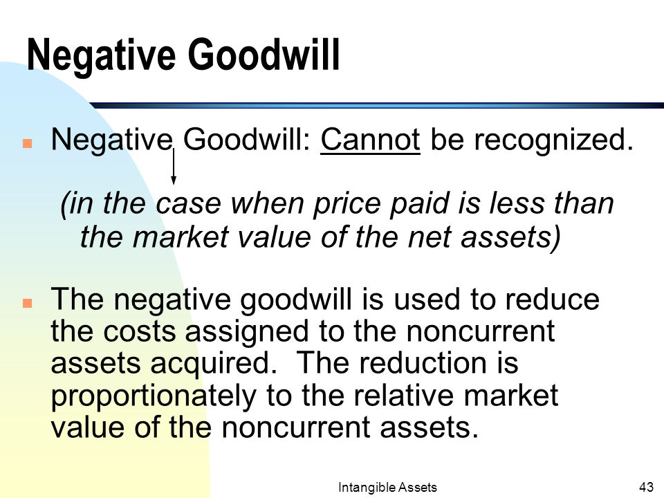 Intangible Assets42 Goodwill (contd.) n Amortization of goodwill is abolished by SFAS No.