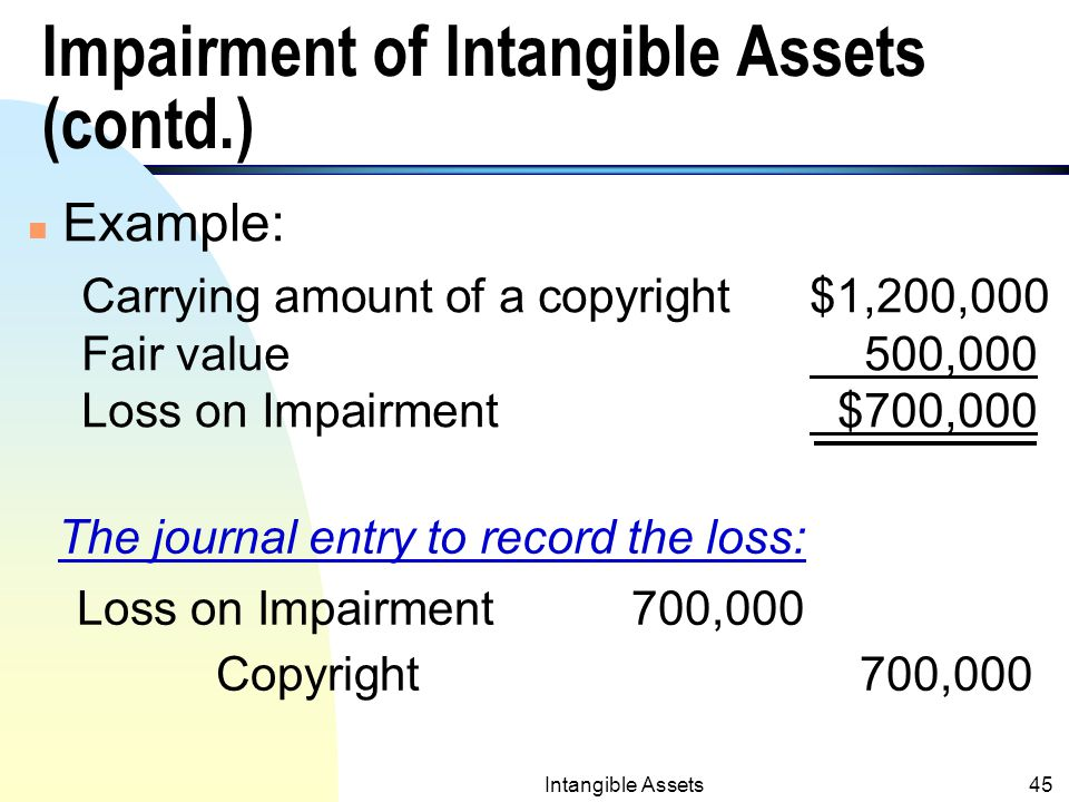 Intangible Assets44 Impairment of Intangible Assets (see Impairment Notes in Ch.