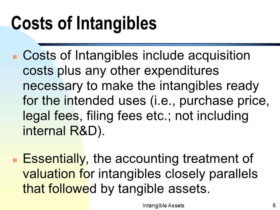 Intangible Assets5 Valuation of Intangibles n Intangibles are recorded at cost and are also reported at cost at the end of an accounting period.