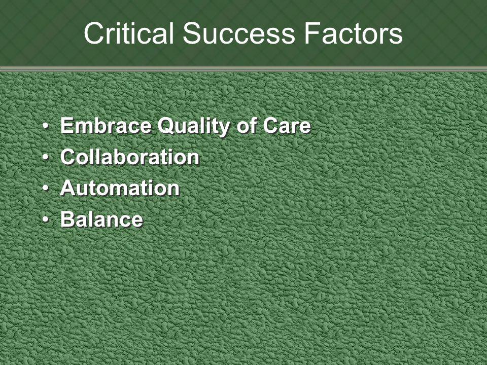 Critical Success Factors Embrace Quality of Care Collaboration Automation Balance Embrace Quality of Care Collaboration Automation Balance