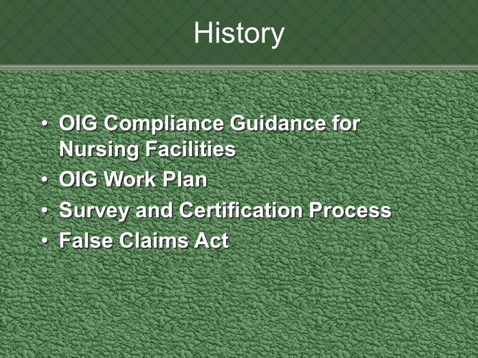 History OIG Compliance Guidance for Nursing Facilities OIG Work Plan Survey and Certification Process False Claims Act OIG Compliance Guidance for Nursing Facilities OIG Work Plan Survey and Certification Process False Claims Act