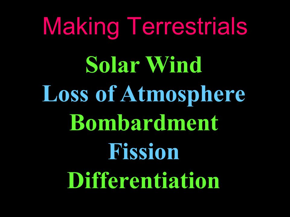 Making Terrestrials Solar Wind Loss of Atmosphere Bombardment Fission Differentiation