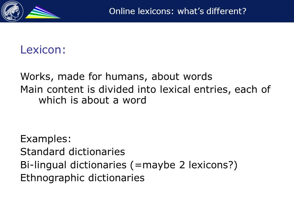 Online lexicons: what's different.