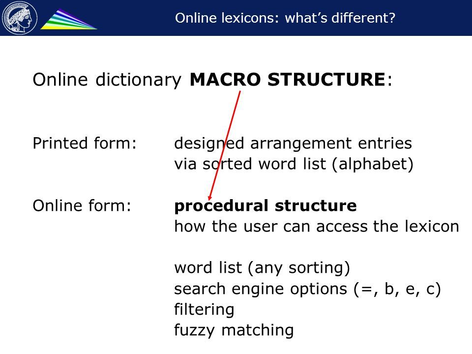 Online lexicons: what's different? Online dictionary MACRO STRUCTURE: Printed form: designed arrangement entries via sorted word list (alphabet) Onlin
