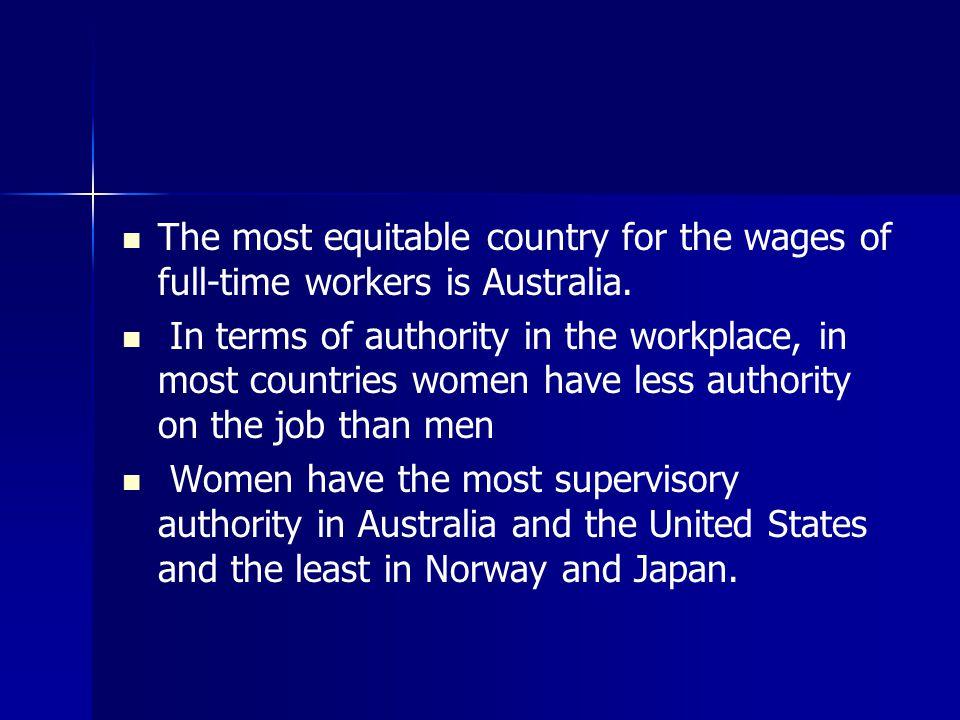 The most equitable country for the wages of full-time workers is Australia.
