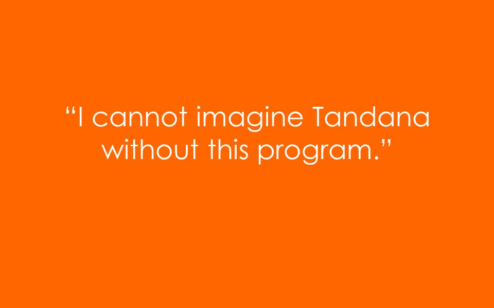 I cannot imagine Tandana without this program.