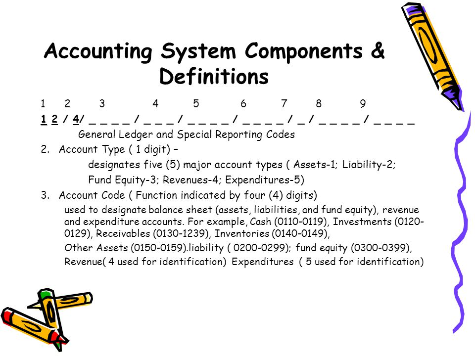 Accounting System Components & Definitions 1 2 3 4 5 6 7 8 9 1 1 2 / 4/ _ _ _ _ / _ _ _ / _ _ _ _ / _ _ _ _ / _ / _ _ _ _ / _ _ _ _ General Ledger and Special Reporting Codes 2.Account Type ( 1 digit) – designates five (5) major account types ( Assets-1; Liability-2; Fund Equity-3; Revenues-4; Expenditures-5) 3.Account Code ( Function indicated by four (4) digits) used to designate balance sheet (assets, liabilities, and fund equity), revenue and expenditure accounts.