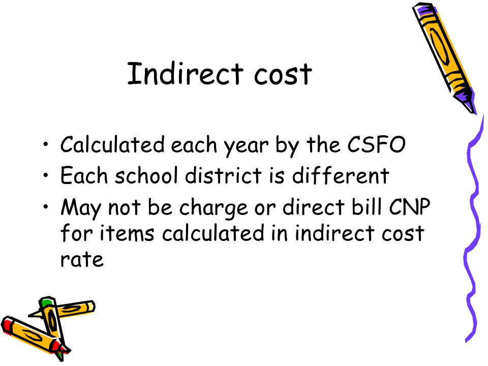 Indirect cost Calculated each year by the CSFO Each school district is different May not be charge or direct bill CNP for items calculated in indirect cost rate