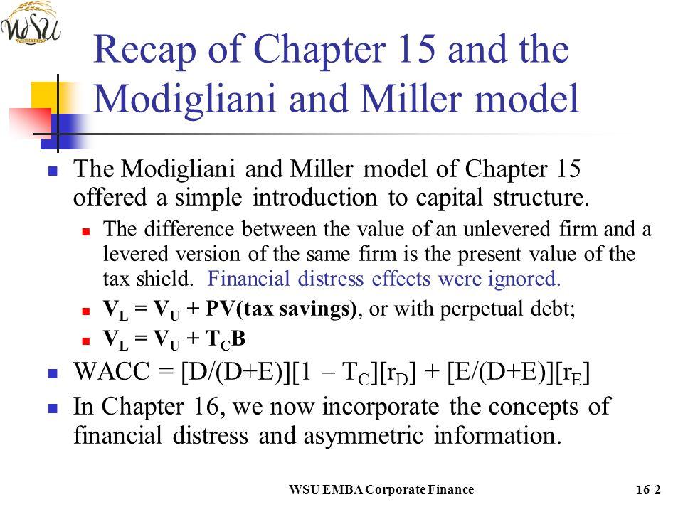 WSU EMBA Corporate Finance16-2 Recap of Chapter 15 and the Modigliani and Miller model The Modigliani and Miller model of Chapter 15 offered a simple