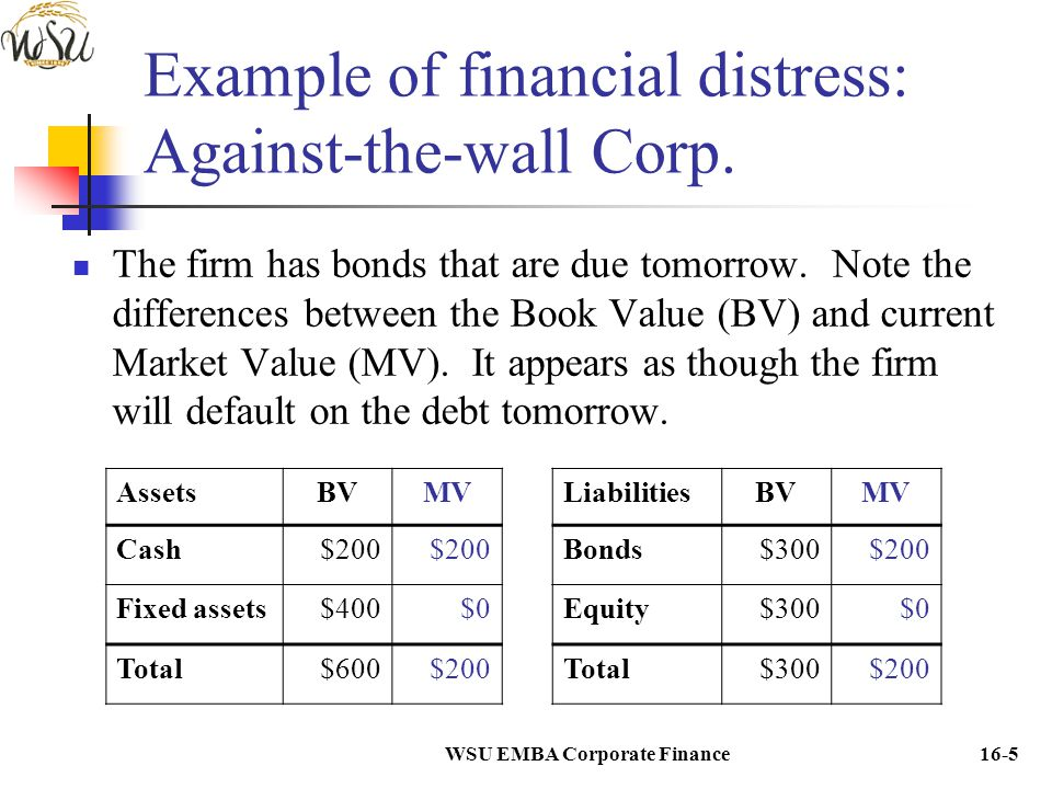 WSU EMBA Corporate Finance16-16 Typical characteristics of high leverage firms Most of value derives from assets currently in place.