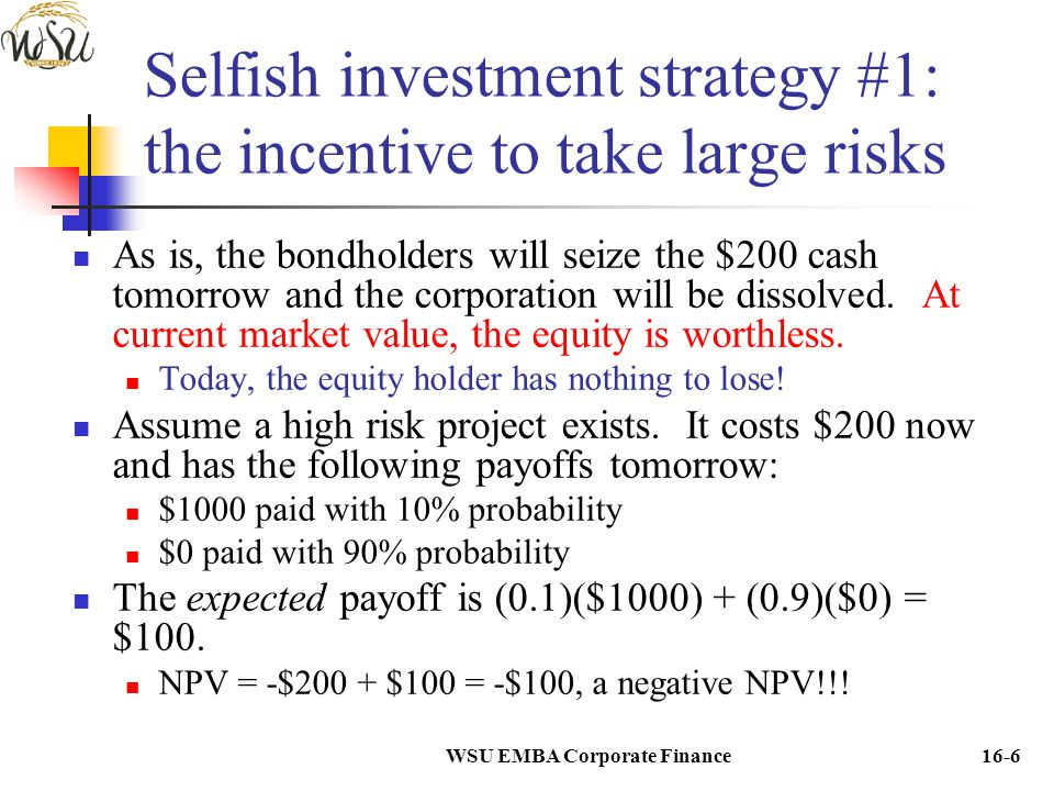 WSU EMBA Corporate Finance16-7 Selfish investment strategy #1: the incentive to take large risks If the $200 risky project is not accepted: Tomorrow the bonds are in default with 100% probability.