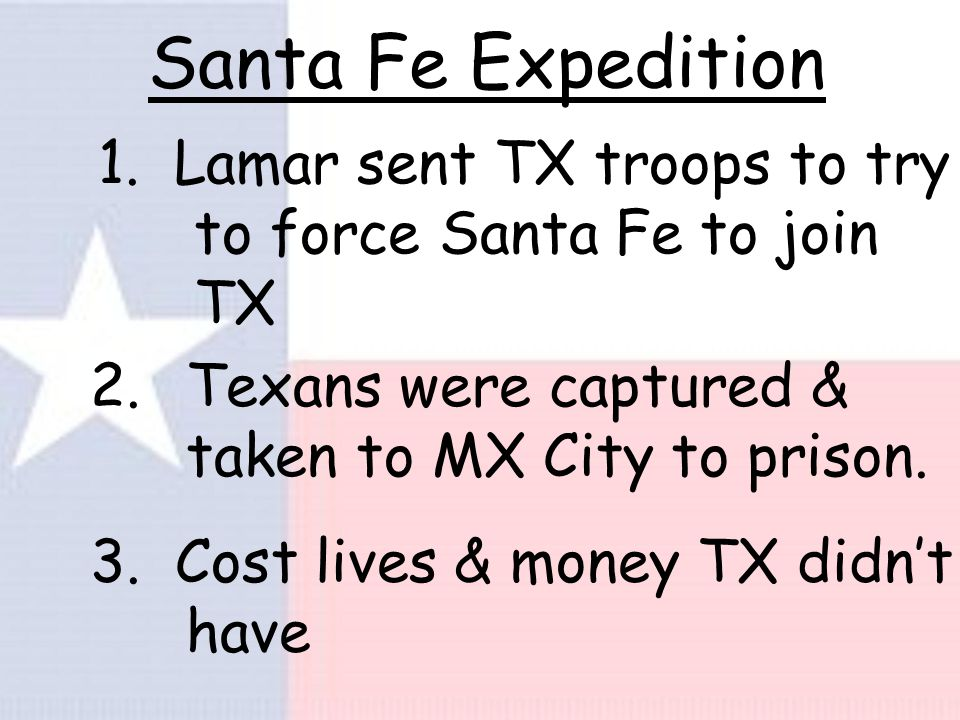 Expansion Policy 1. TX govt. used offers of land to attract new settlers and pay debts.