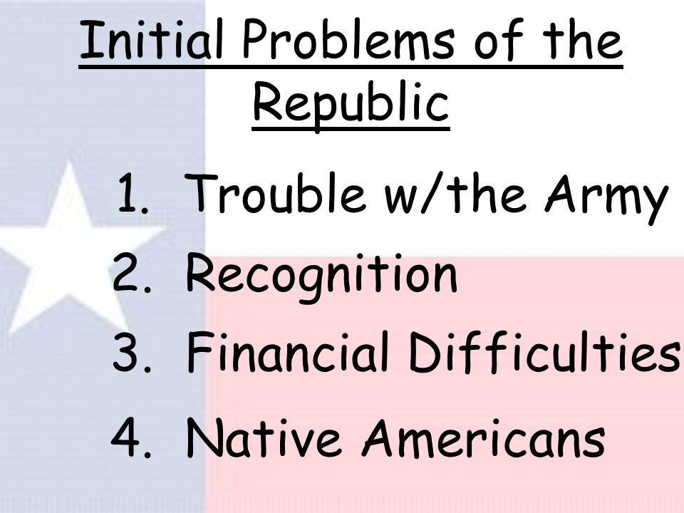 Initial Problems of the Republic 1.Trouble w/the Army 2.