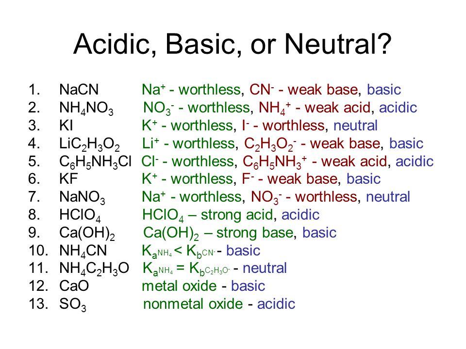 Acidic, Basic, or Neutral.