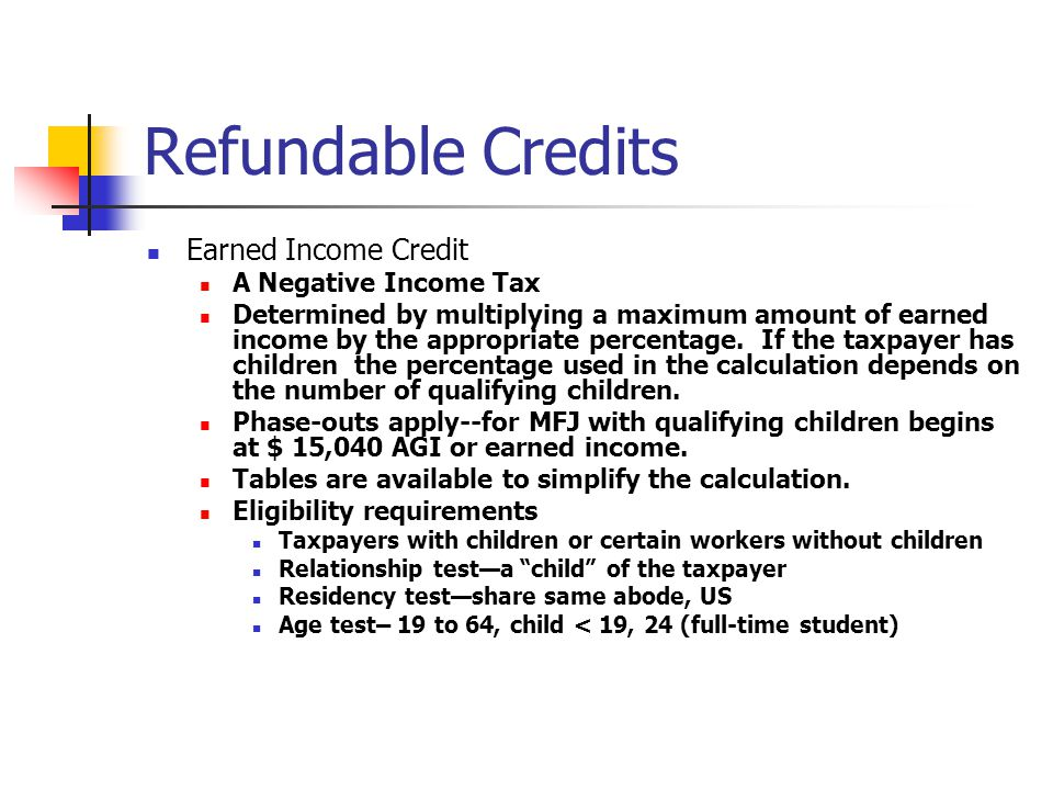 Refundable Credits Earned Income Credit A Negative Income Tax Determined by multiplying a maximum amount of earned income by the appropriate percentag