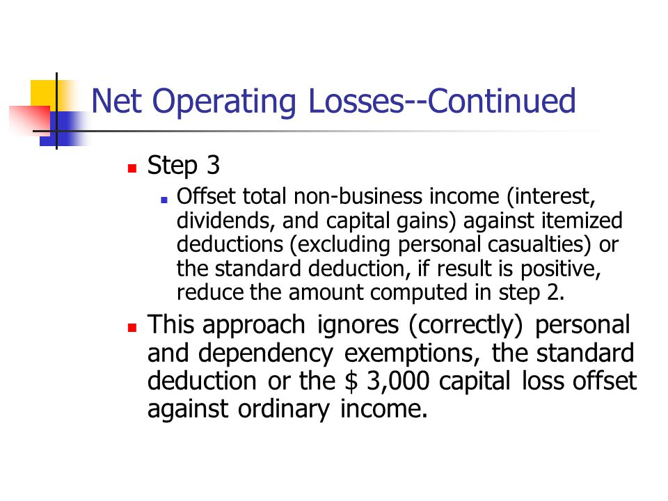 Net Operating Losses--Continued Step 3 Offset total non-business income (interest, dividends, and capital gains) against itemized deductions (excludin
