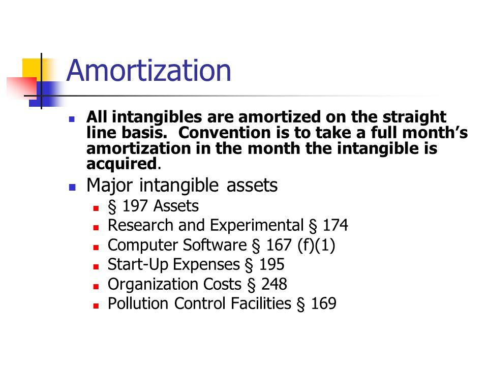 Amortization All intangibles are amortized on the straight line basis.