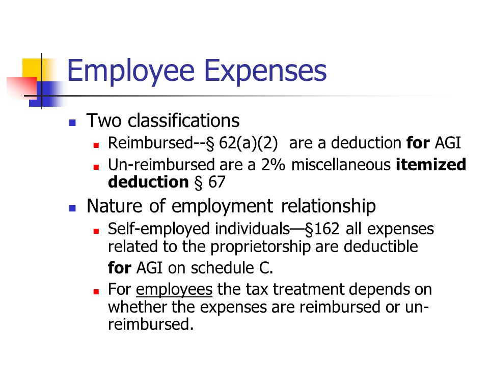 Employee Expenses Two classifications Reimbursed--§ 62(a)(2) are a deduction for AGI Un-reimbursed are a 2% miscellaneous itemized deduction § 67 Nature of employment relationship Self-employed individuals—§162 all expenses related to the proprietorship are deductible for AGI on schedule C.