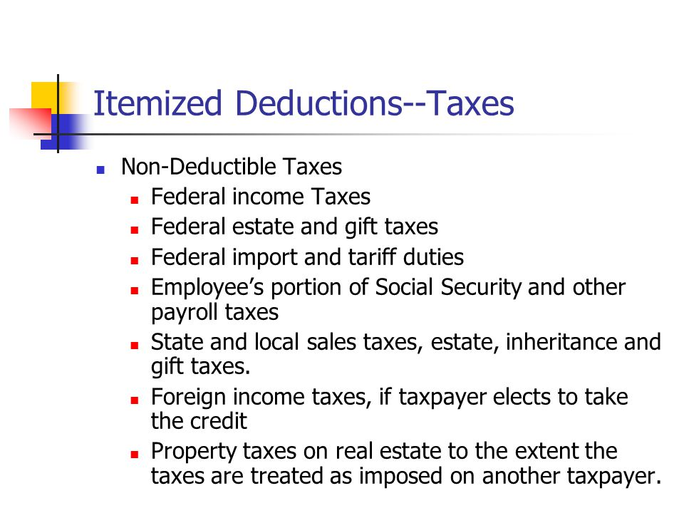 Itemized Deductions--Taxes Non-Deductible Taxes Federal income Taxes Federal estate and gift taxes Federal import and tariff duties Employee's portion