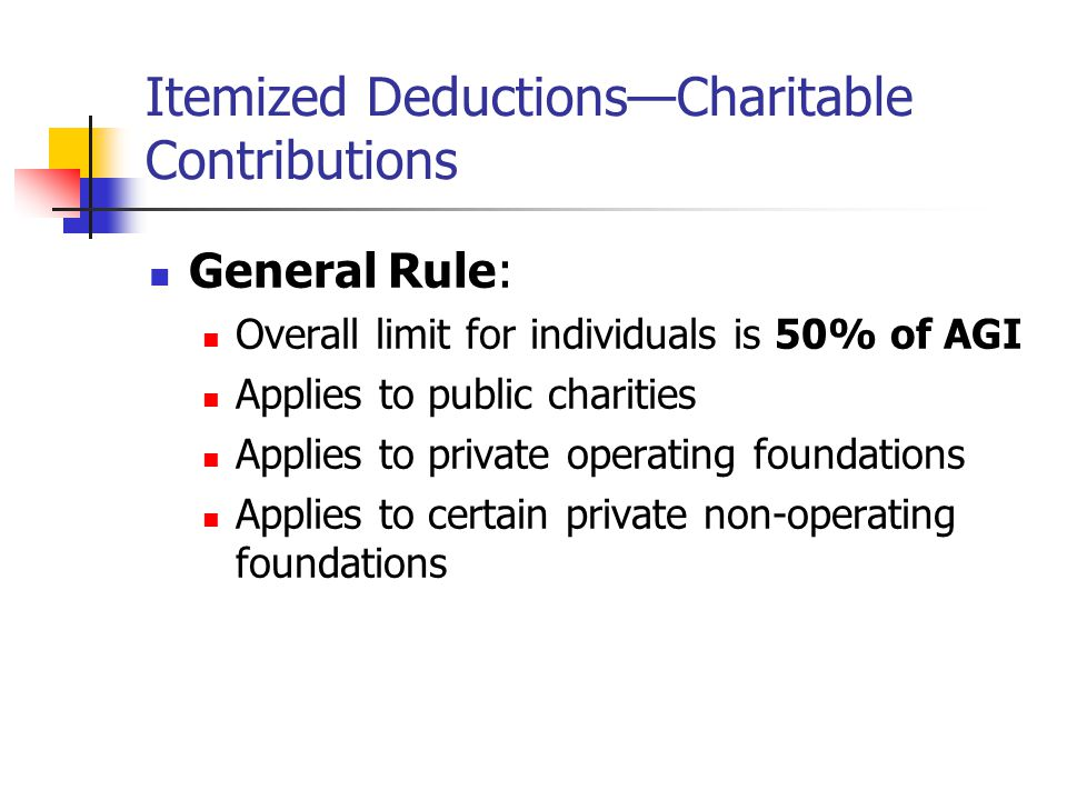 Itemized Deductions—Charitable Contributions General Rule: Overall limit for individuals is 50% of AGI Applies to public charities Applies to private