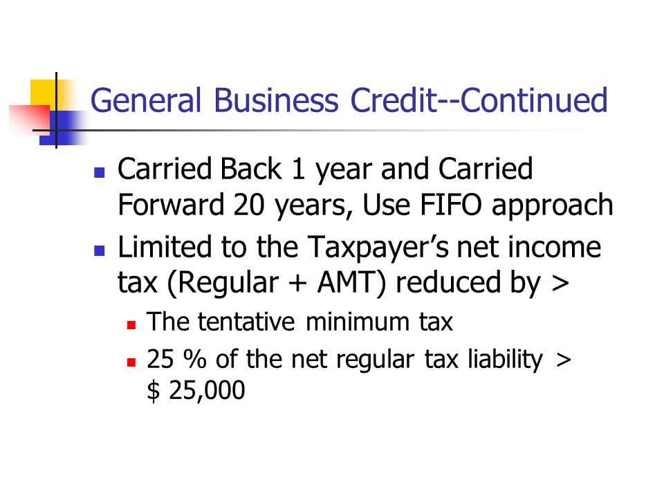 General Business Credit--Continued Carried Back 1 year and Carried Forward 20 years, Use FIFO approach Limited to the Taxpayer's net income tax (Regul