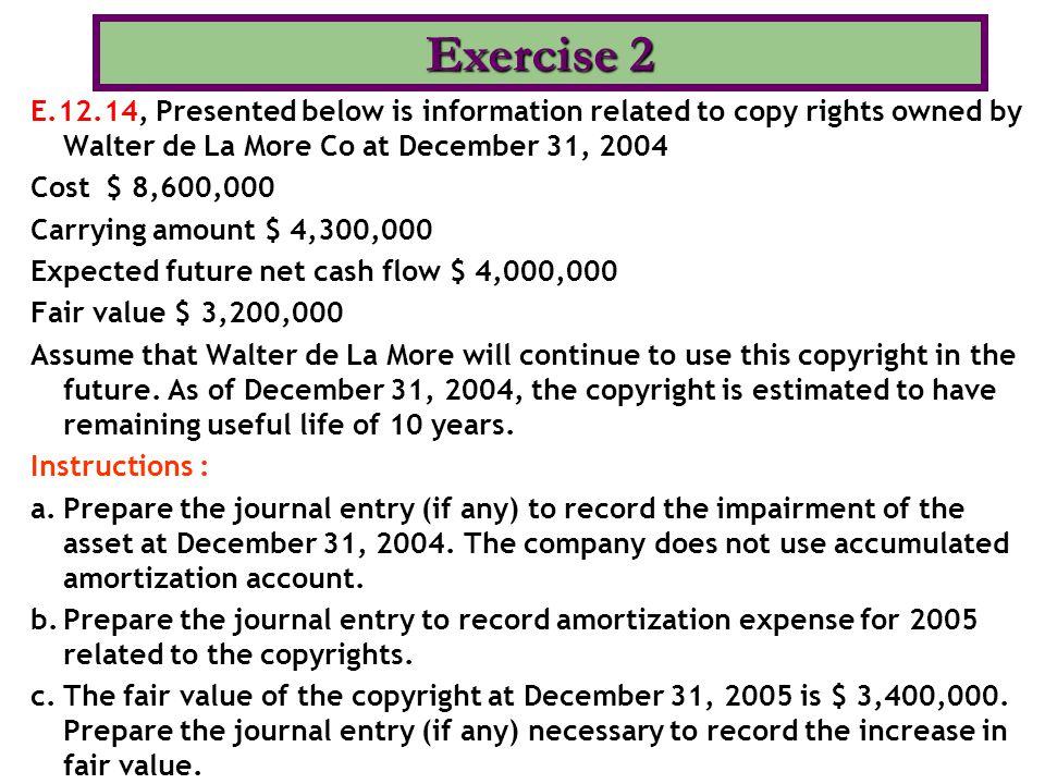 (a) December 31, 2004 Loss on Impairment 1,100,000 Copyrights 1,100,000 Carrying amount $ 4,300,000 Fair value $ 3,200,000 Loss on impairment $ 1,100,000 (b) Copyright Amortization Expense320,000 Copyrights 320,000 New carrying amount $ 3,200,000 Useful life  10 years Amortization per year $ 320,000 (c) Tidak dibutuhkan jurnal.