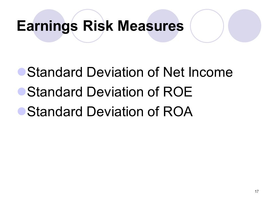 17 Earnings Risk Measures Standard Deviation of Net Income Standard Deviation of ROE Standard Deviation of ROA