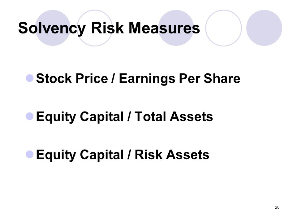 20 Solvency Risk Measures Stock Price / Earnings Per Share Equity Capital / Total Assets Equity Capital / Risk Assets