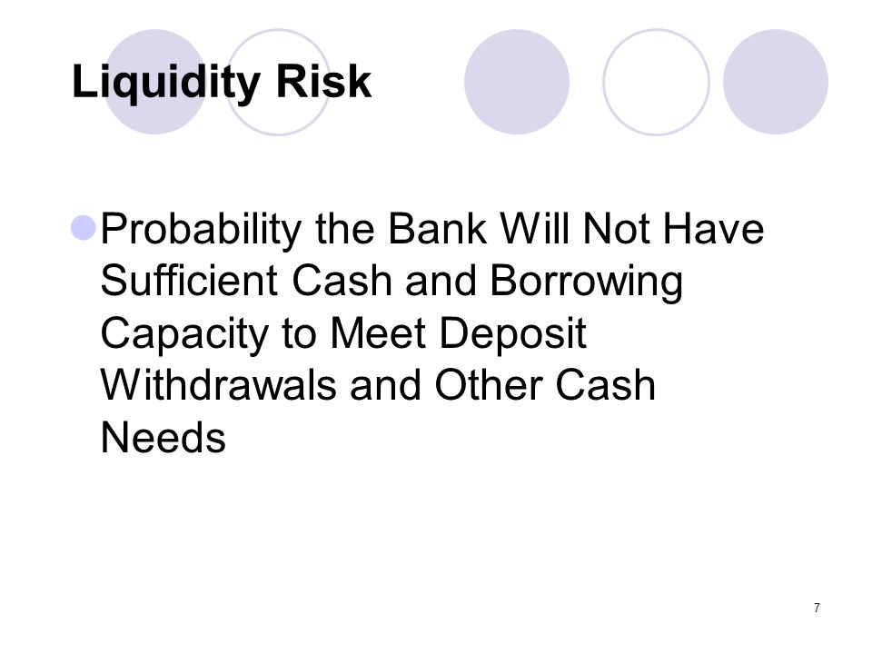 7 Liquidity Risk Probability the Bank Will Not Have Sufficient Cash and Borrowing Capacity to Meet Deposit Withdrawals and Other Cash Needs