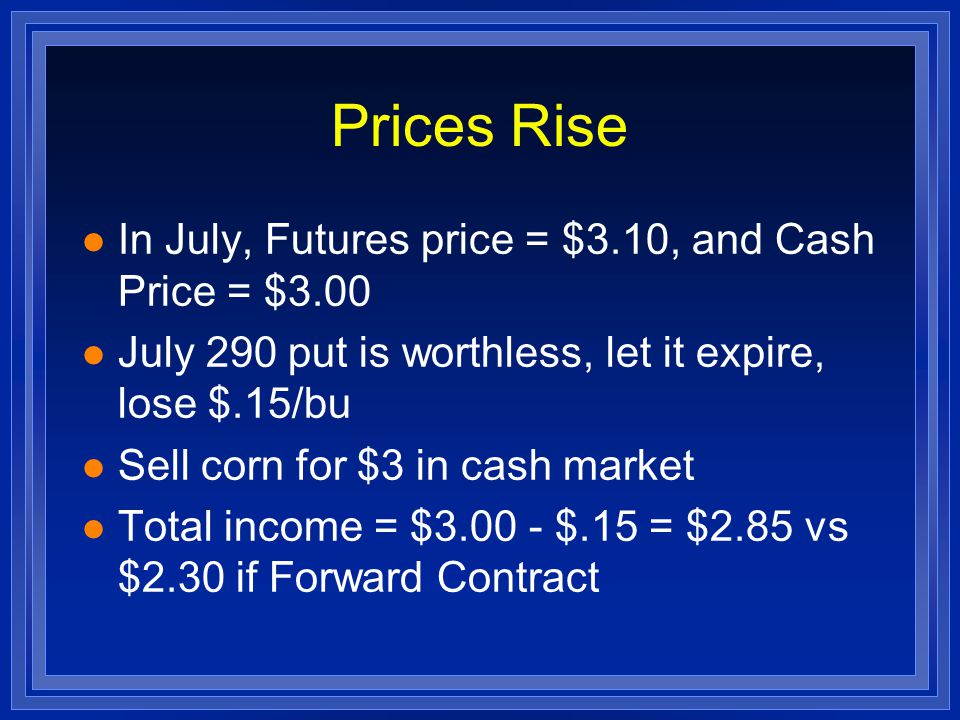 Prices Rise l In July, Futures price = $3.10, and Cash Price = $3.00 l July 290 put is worthless, let it expire, lose $.15/bu l Sell corn for $3 in cash market l Total income = $3.00 - $.15 = $2.85 vs $2.30 if Forward Contract