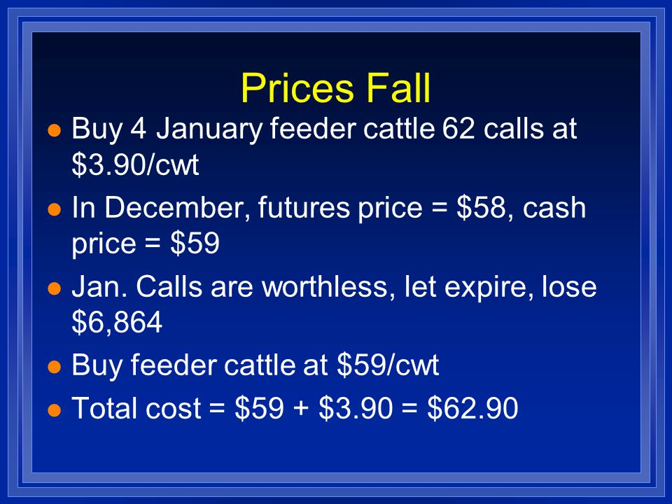 Prices Fall l Buy 4 January feeder cattle 62 calls at $3.90/cwt l In December, futures price = $58, cash price = $59 l Jan. Calls are worthless, let e
