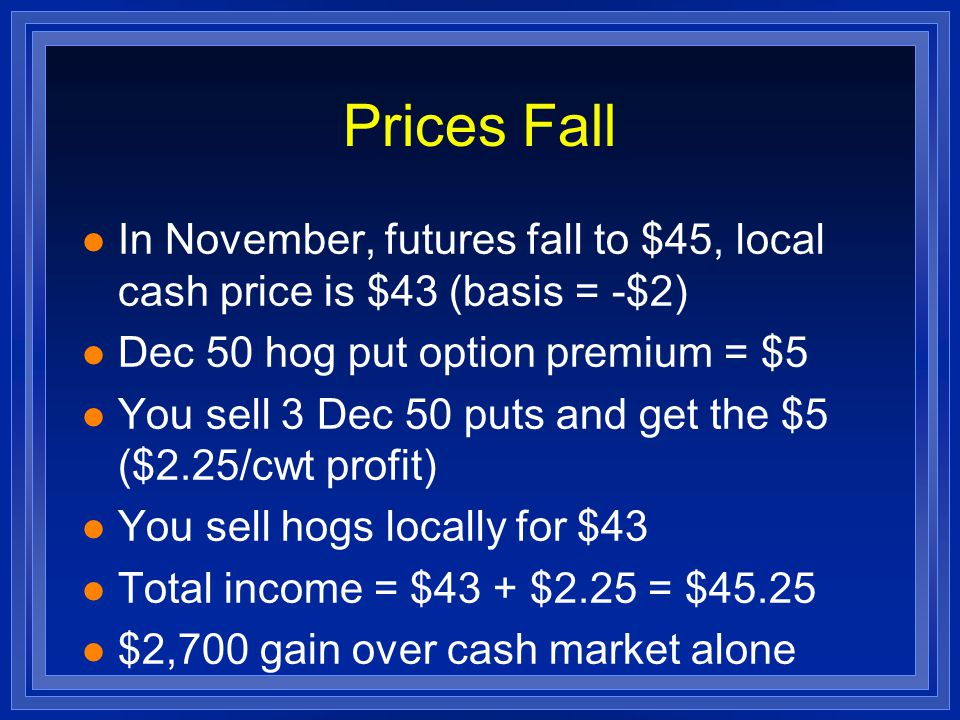 Prices Fall l In November, futures fall to $45, local cash price is $43 (basis = -$2) l Dec 50 hog put option premium = $5 l You sell 3 Dec 50 puts and get the $5 ($2.25/cwt profit) l You sell hogs locally for $43 l Total income = $43 + $2.25 = $45.25 l $2,700 gain over cash market alone