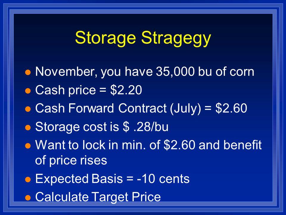 Storage Stragegy l November, you have 35,000 bu of corn l Cash price = $2.20 l Cash Forward Contract (July) = $2.60 l Storage cost is $.28/bu l Want t