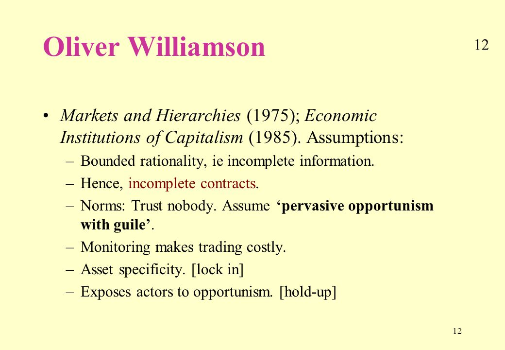 12 Oliver Williamson Markets and Hierarchies (1975); Economic Institutions of Capitalism (1985).