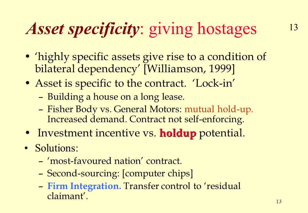 13 Asset specificity: giving hostages 'highly specific assets give rise to a condition of bilateral dependency' [Williamson, 1999] Asset is specific to the contract.