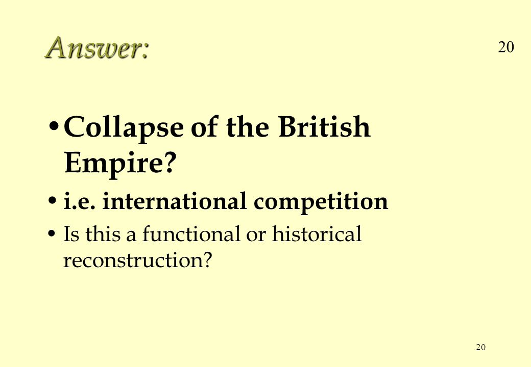 20 Answer: Collapse of the British Empire? i.e. international competition Is this a functional or historical reconstruction?