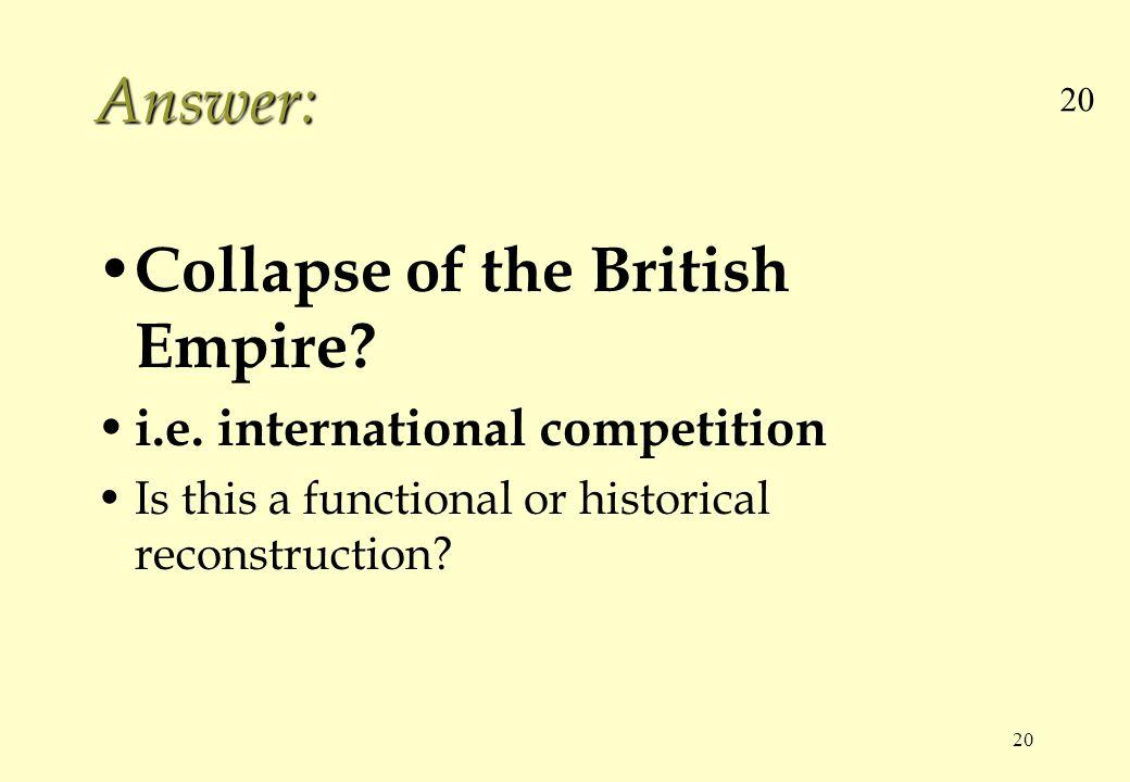 20 Answer: Collapse of the British Empire. i.e.