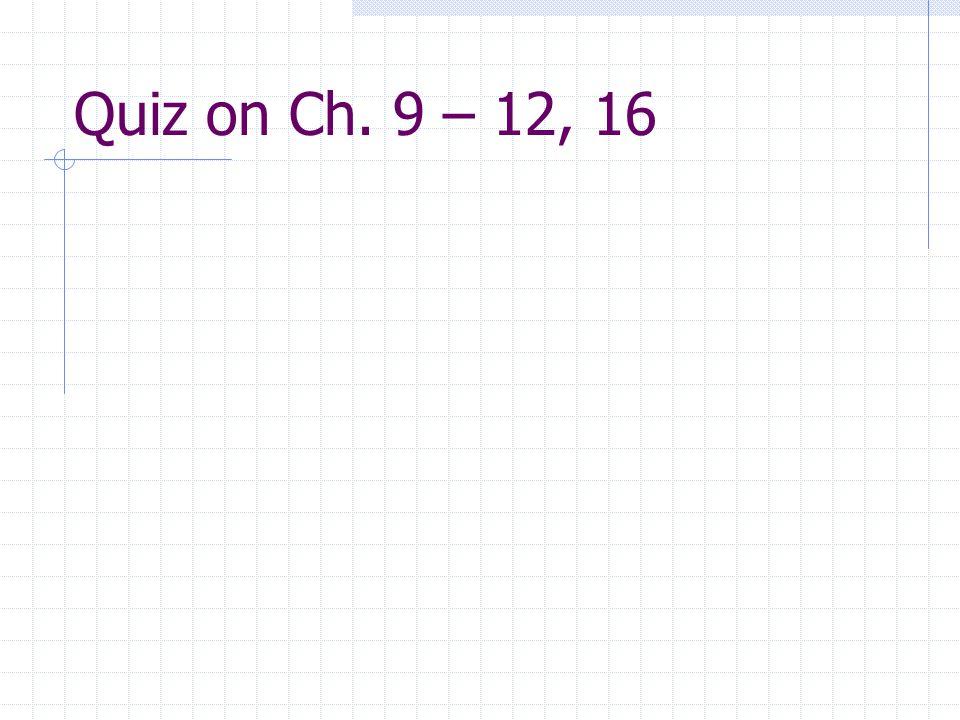 Quiz on Ch. 9 – 12, 16