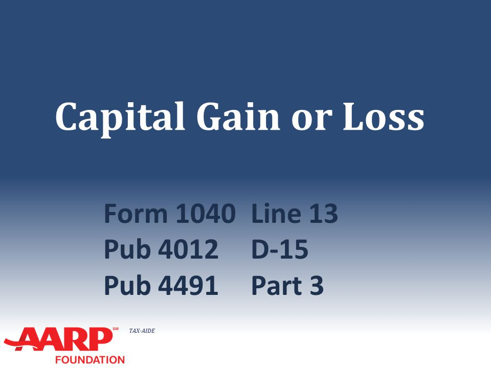 TAX-AIDE Capital Gain or Loss Form 1040Line 13 Pub 4012D-15 Pub 4491Part 3