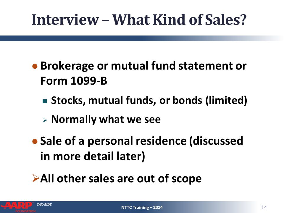 TAX-AIDE Interview – What Kind of Sales.