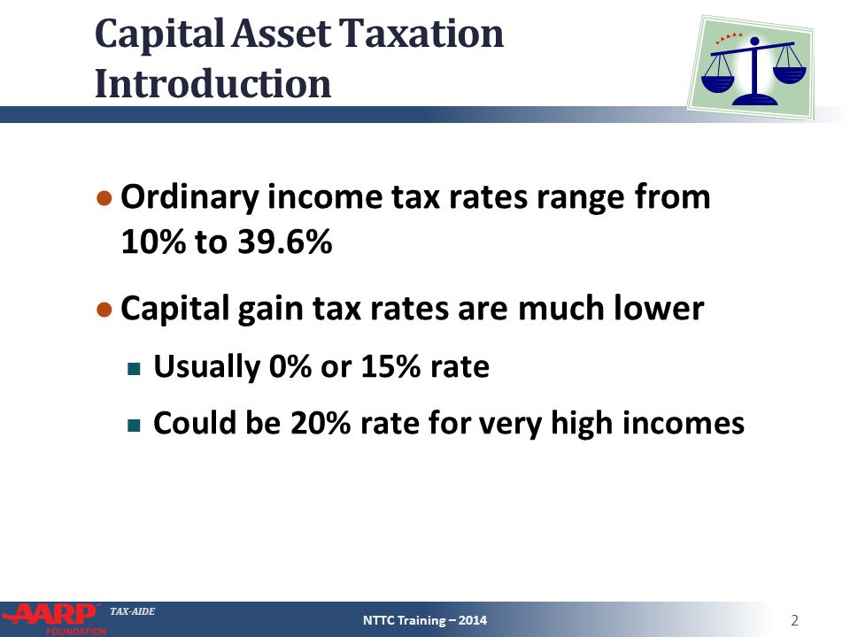 TAX-AIDE Capital Asset Taxation Introduction ● Ordinary income tax rates range from 10% to 39.6% ● Capital gain tax rates are much lower Usually 0% or 15% rate Could be 20% rate for very high incomes NTTC Training – 2014 2