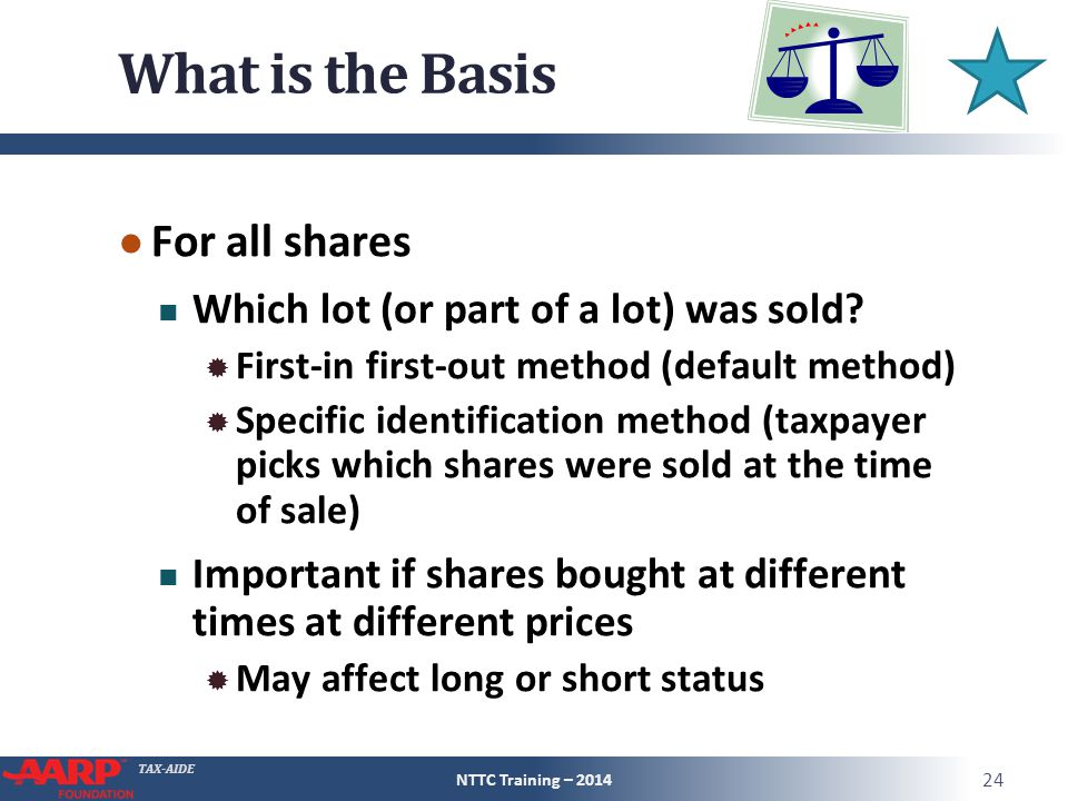 TAX-AIDE What is the Basis ● For all shares Which lot (or part of a lot) was sold.
