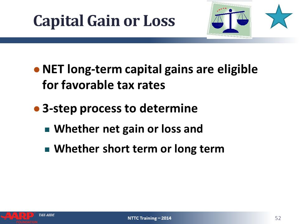 TAX-AIDE Capital Gain or Loss ● NET long-term capital gains are eligible for favorable tax rates ● 3-step process to determine Whether net gain or loss and Whether short term or long term NTTC Training – 2014 52