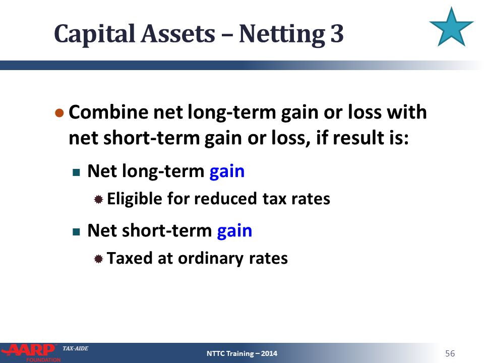 TAX-AIDE Capital Assets – Netting 3 ● Combine net long-term gain or loss with net short-term gain or loss, if result is: Net long-term gain  Eligible for reduced tax rates Net short-term gain  Taxed at ordinary rates NTTC Training – 2014 56