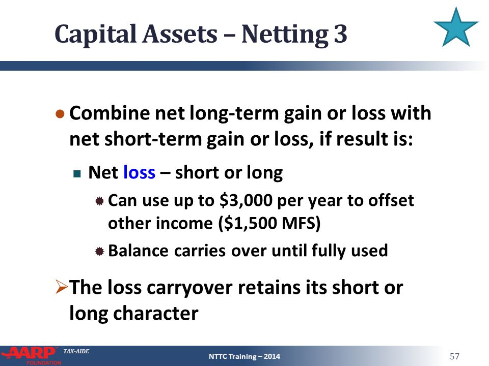 TAX-AIDE Capital Assets – Netting 3 ● Combine net long-term gain or loss with net short-term gain or loss, if result is: Net loss – short or long  Can use up to $3,000 per year to offset other income ($1,500 MFS)  Balance carries over until fully used  The loss carryover retains its short or long character NTTC Training – 2014 57