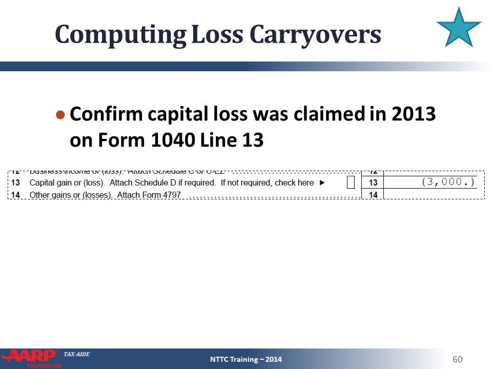 TAX-AIDE Computing Loss Carryovers ● Confirm capital loss was claimed in 2013 on Form 1040 Line 13 NTTC Training – 2014 60