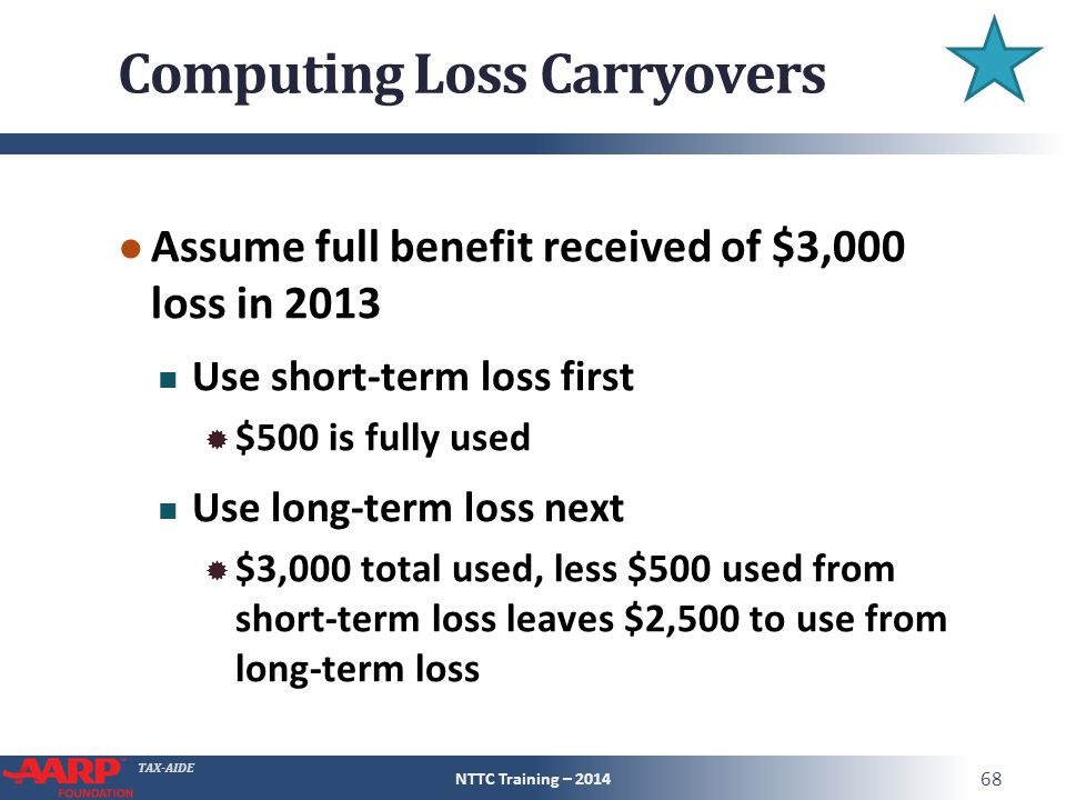 TAX-AIDE Computing Loss Carryovers ● Assume full benefit received of $3,000 loss in 2013 Use short-term loss first  $500 is fully used Use long-term loss next  $3,000 total used, less $500 used from short-term loss leaves $2,500 to use from long-term loss NTTC Training – 2014 68